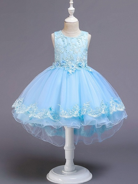Princess / Ball Gown Knee Length Wedding / Party Flower Girl Dresses - Tulle Sleeveless Jewel Neck With Bow(S) / Appliques_4