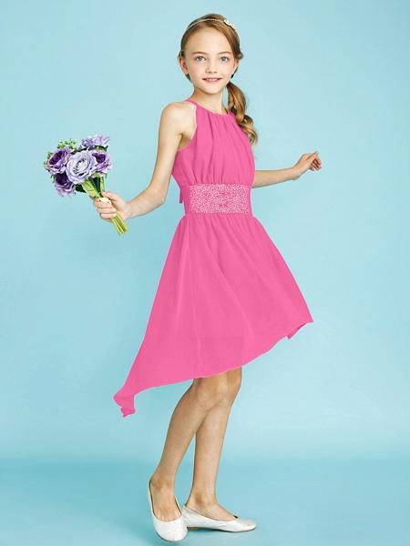 Sheath / Column Jewel Neck Asymmetrical Chiffon Junior Bridesmaid Dress With Sequin / Natural_28