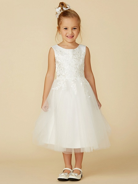A-Line Tea Length Wedding / First Communion Flower Girl Dresses - Lace / Tulle Sleeveless Jewel Neck With Lace_1