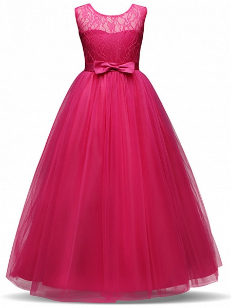 Princess Long Length Party / Birthday / Pageant Flower Girl Dresses - Lace / Tulle Sleeveless Jewel Neck With Lace / Bow(S)_11