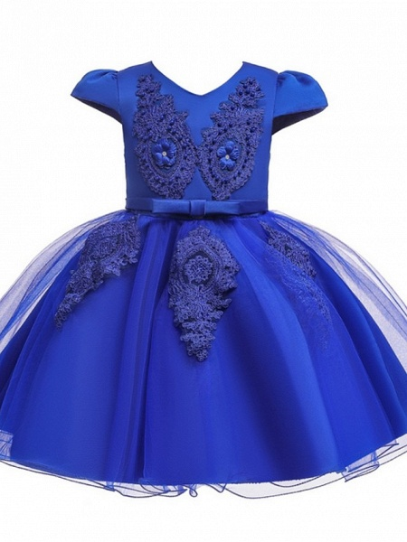 Princess / Ball Gown Knee Length Wedding / Party Flower Girl Dresses - Tulle Short Sleeve V Neck With Sash / Ribbon / Bow(S) / Appliques_6