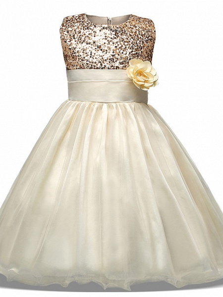 Princess Midi Wedding / Party / Pageant Flower Girl Dresses - Tulle Sleeveless Jewel Neck With Belt / Bow(S) / Appliques_4
