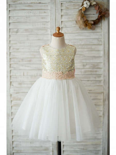 A-Line Knee Length Wedding / Birthday / Pageant Flower Girl Dresses - Tulle / Sequined Sleeveless Jewel Neck With Bows / Appliques_5