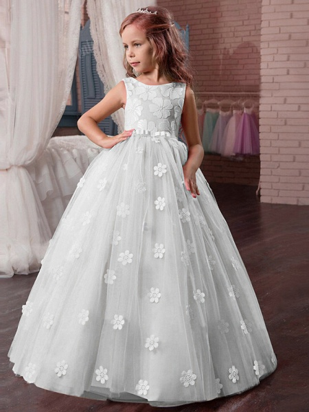 Princess Long Length Wedding / First Communion / Pageant Flower Girl Dresses - Tulle / Mikado Sleeveless Jewel Neck With Appliques_1