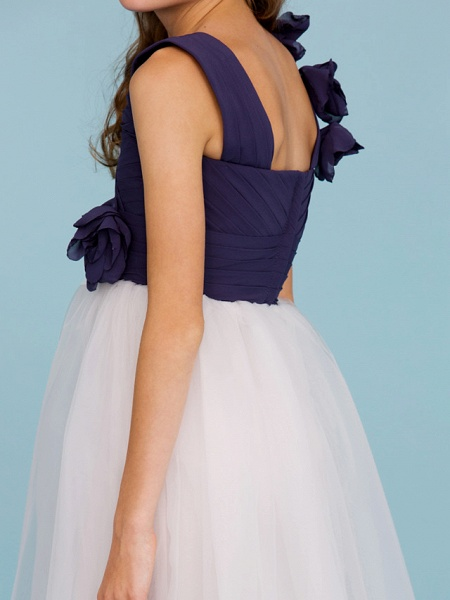 Princess / A-Line Straps Floor Length Chiffon / Tulle Junior Bridesmaid Dress With Criss Cross / Ruched / Flower / Color Block / Floral / Wedding Party_9