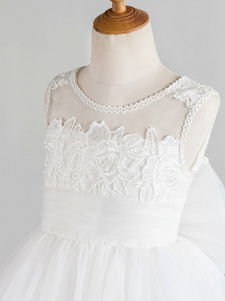 Princess Knee Length Wedding / First Communion / Birthday Flower Girl Dresses - Lace / Tulle Sleeveless Jewel Neck With Bows / Feathers / Fur / Appliques_3