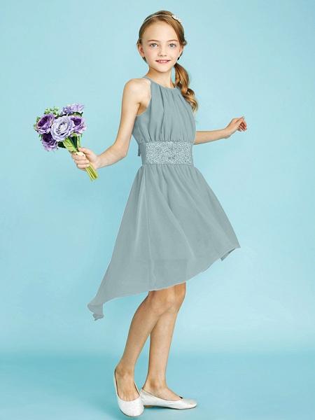 Sheath / Column Jewel Neck Asymmetrical Chiffon Junior Bridesmaid Dress With Sequin / Natural_16