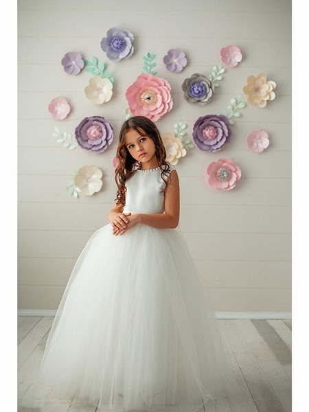 Princess / Ball Gown Floor Length Wedding / Party Flower Girl Dresses - Tulle Sleeveless Jewel Neck With Pleats / Solid_1