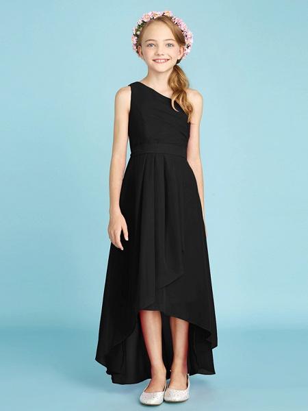 A-Line One Shoulder Asymmetrical Chiffon Junior Bridesmaid Dress With Sash / Ribbon / Bow(S) / Side Draping / Natural_42
