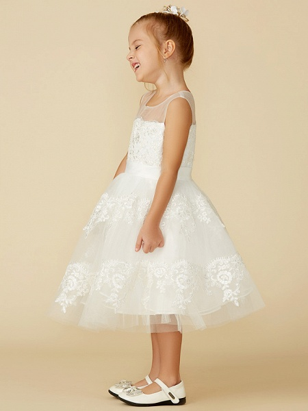 A-Line Tea Length Wedding / First Communion Flower Girl Dresses - Lace Sleeveless Jewel Neck With Lace / Sash / Ribbon_6