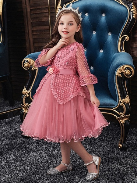 Princess / Ball Gown Knee Length Wedding / Party Flower Girl Dresses - Tulle Long Sleeve Jewel Neck With Sash / Ribbon / Bow(S) / Beading_3