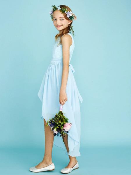 Sheath / Column Jewel Neck Asymmetrical Chiffon / Lace Junior Bridesmaid Dress With Pleats / Natural_4