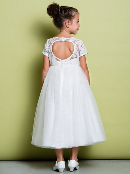 A-Line Tea Length Wedding / First Communion Flower Girl Dresses - Lace / Tulle Short Sleeve Jewel Neck With Lace_2