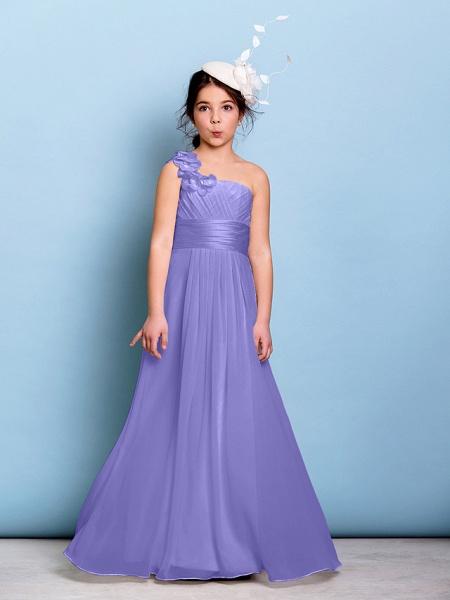 A-Line One Shoulder Floor Length Chiffon Junior Bridesmaid Dress With Sash / Ribbon / Criss Cross / Ruched / Natural_37