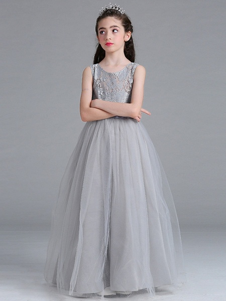 Princess / A-Line Round Floor Length Lace / Tulle Junior Bridesmaid Dress With Bow(S)_5