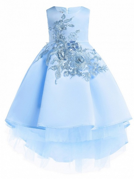 Ball Gown Ankle Length Pageant Flower Girl Dresses - Polyester Sleeveless Jewel Neck With Appliques_2