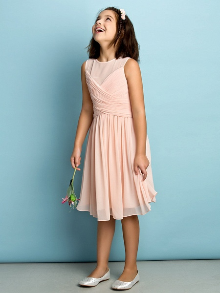 A-Line Jewel Neck Knee Length Chiffon Junior Bridesmaid Dress With Criss Cross / Natural / Mini Me_6