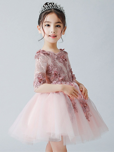 A-Line Ankle Length Christmas / Birthday Flower Girl Dresses - Tulle Half Sleeve Jewel Neck With Appliques_4