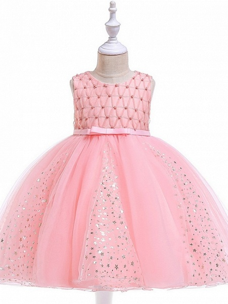 Princess / Ball Gown Knee Length Wedding / Party Flower Girl Dresses - Tulle Sleeveless Jewel Neck With Sash / Ribbon / Beading / Appliques_4
