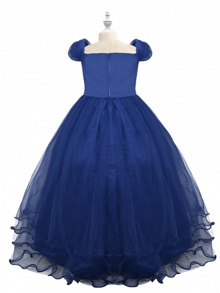 Princess Maxi Birthday / Pageant Flower Girl Dresses - Chiffon / Tulle Short Sleeve Boat Neck With Beading / Appliques / Paillette_4