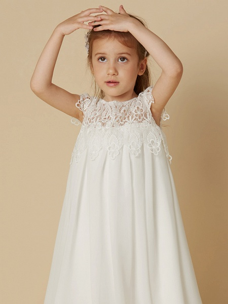 Sheath / Column Knee Length Wedding / First Communion / Holiday Flower Girl Dresses - Chiffon / Lace Short Sleeve Scoop Neck With Lace_5