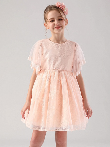 Princess / Ball Gown Medium Length Wedding / Event / Party Flower Girl Dresses - Lace / Tulle Half Sleeve Jewel Neck With Beading / Butterfly / Solid_3