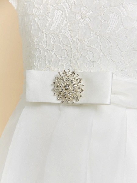 A-Line Floor Length Wedding / First Communion Flower Girl Dresses - Lace / Satin Short Sleeve Square Neck With Bow(S)_7