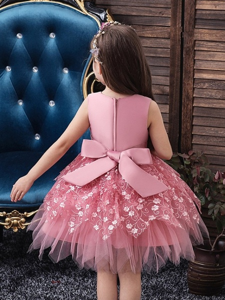Princess / Ball Gown Mini Wedding / Party Flower Girl Dresses - Tulle Sleeveless V Neck With Sash / Ribbon / Bow(S) / Appliques_4