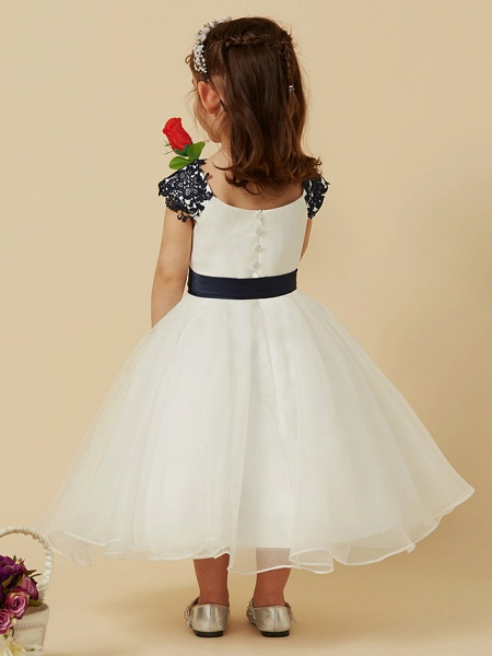 A-Line Knee Length Pageant Flower Girl Dresses - Lace / Tulle Short Sleeve Scoop Neck With Sash / Ribbon / Bow(S) / Buttons_2