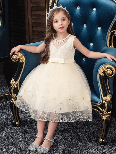 Princess / Ball Gown Knee Length Wedding / Party Flower Girl Dresses - Tulle Sleeveless Jewel Neck With Sash / Ribbon / Bow(S) / Beading_3