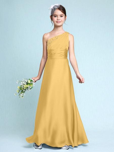 Sheath / Column One Shoulder Floor Length Chiffon Satin Junior Bridesmaid Dress With Ruched / Side Draping / Natural_23