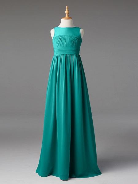 Princess / A-Line Jewel Neck Floor Length Chiffon Junior Bridesmaid Dress With Sash / Ribbon / Pleats_9