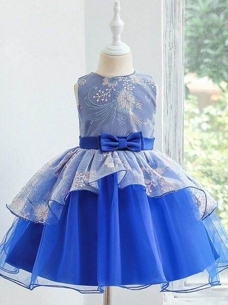 Princess / Ball Gown Knee Length Wedding / Party Flower Girl Dresses - Tulle Sleeveless Jewel Neck With Bow(S) / Tier_5