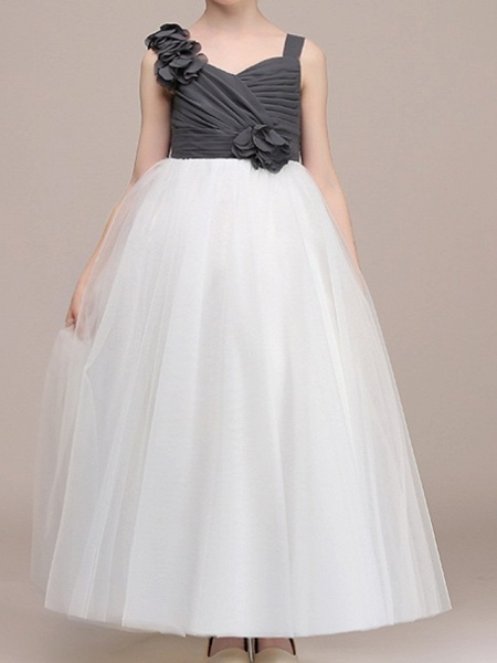 Ball Gown Floor Length Pageant Flower Girl Dresses - Polyester Sleeveless Spaghetti Strap With Color Block_3