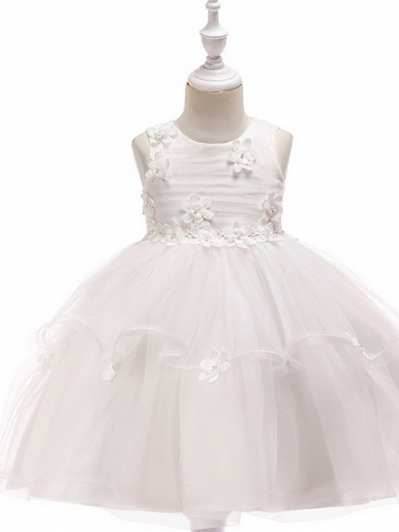 Ball Gown Floor Length Wedding / Party Flower Girl Dresses - Lace / Tulle Sleeveless Jewel Neck With Sash / Ribbon / Appliques_4