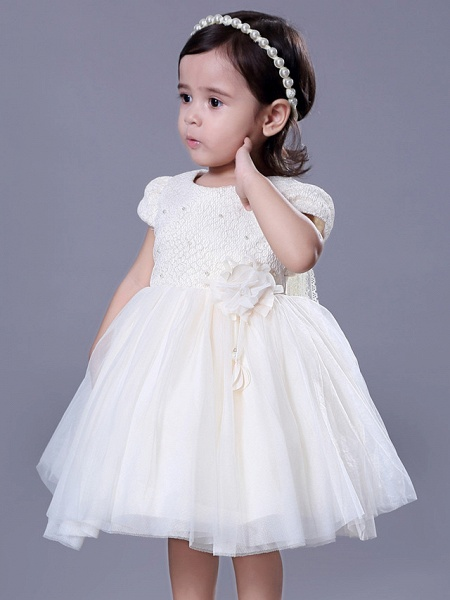 Ball Gown Royal Length Train / Medium Length Wedding / Event / Party Flower Girl Dresses - Lace Short Sleeve Jewel Neck With Belt / Beading / Flower_6