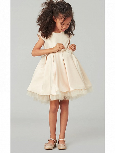 A-Line Knee Length Wedding Flower Girl Dresses - Satin / Tulle Cap Sleeve Jewel Neck With Bow(S) / Solid_2