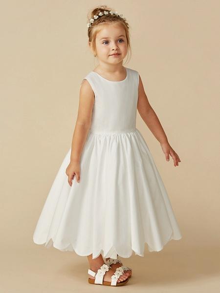 A-Line Tea Length Wedding / First Communion Flower Girl Dresses - Taffeta Sleeveless Jewel Neck With Sash / Ribbon / Pleats_10
