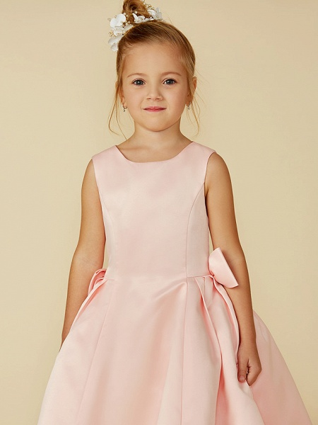 Ball Gown Tea Length Pageant Flower Girl Dresses - Satin Sleeveless Jewel Neck With Bow(S)_4