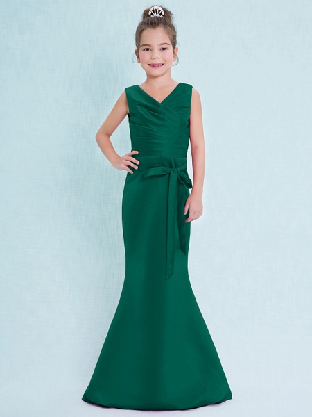 Mermaid / Trumpet V Neck Floor Length Satin Junior Bridesmaid Dress With Criss Cross / Natural_27