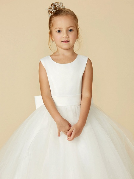 A-Line Floor Length Wedding / First Communion Flower Girl Dresses - Satin / Tulle Sleeveless Jewel Neck With Bow(S) / Buttons_8