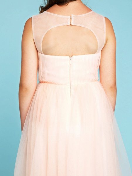 Princess / A-Line V Neck Floor Length Tulle Junior Bridesmaid Dress With Criss Cross / Crystals / Wedding Party_8