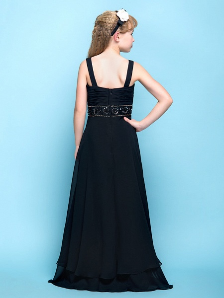 A-Line Straps Floor Length Chiffon Junior Bridesmaid Dress With Criss Cross / Ruched / Beading / Empire_4