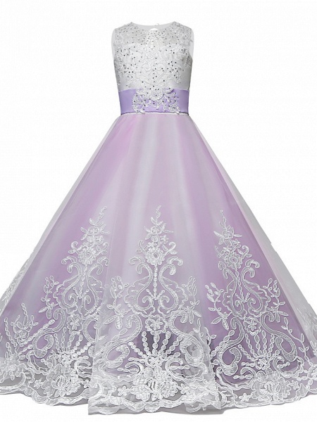 Princess Maxi Wedding / Birthday / Pageant Flower Girl Dresses - Lace / Tulle Sleeveless Jewel Neck With Lace / Bow(S) / Paillette_1