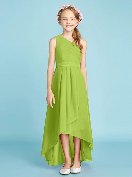 A-Line One Shoulder Asymmetrical Chiffon Junior Bridesmaid Dress With Sash / Ribbon / Bow(S) / Side Draping / Natural_31