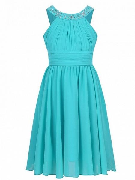 A-Line Round Tea Length Chiffon Junior Bridesmaid Dress With Beading / Ruching_6
