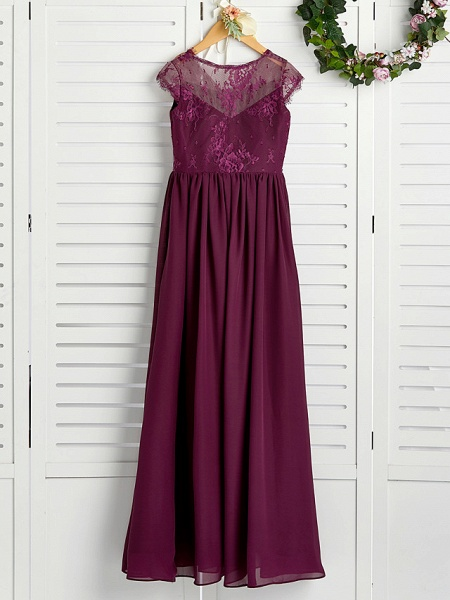A-Line V Neck Maxi Chiffon / Lace Junior Bridesmaid Dress With Appliques_4