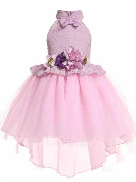 Princess Midi / Medium Length Pageant Flower Girl Dresses - Organza / Tulle Sleeveless Halter Neck With Petal / Lace / Solid_1
