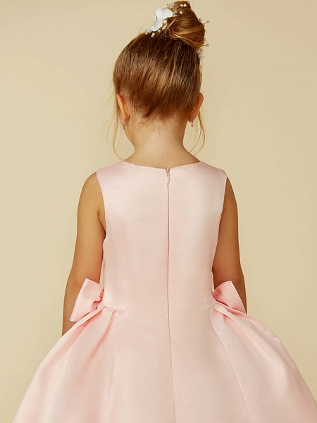 Ball Gown Tea Length Pageant Flower Girl Dresses - Satin Sleeveless Jewel Neck With Bow(S)_6