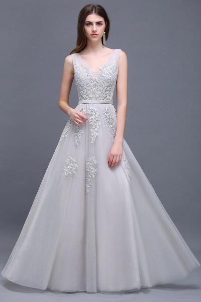 Fabulous V-neck Tulle A-line Evening Dress_9